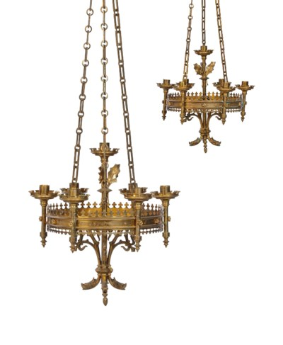 A PAIR OF BRASS CHANDELIERS