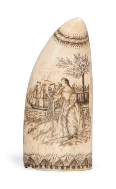 A SCRIMSHAW ENGRAVED WHALE'S T