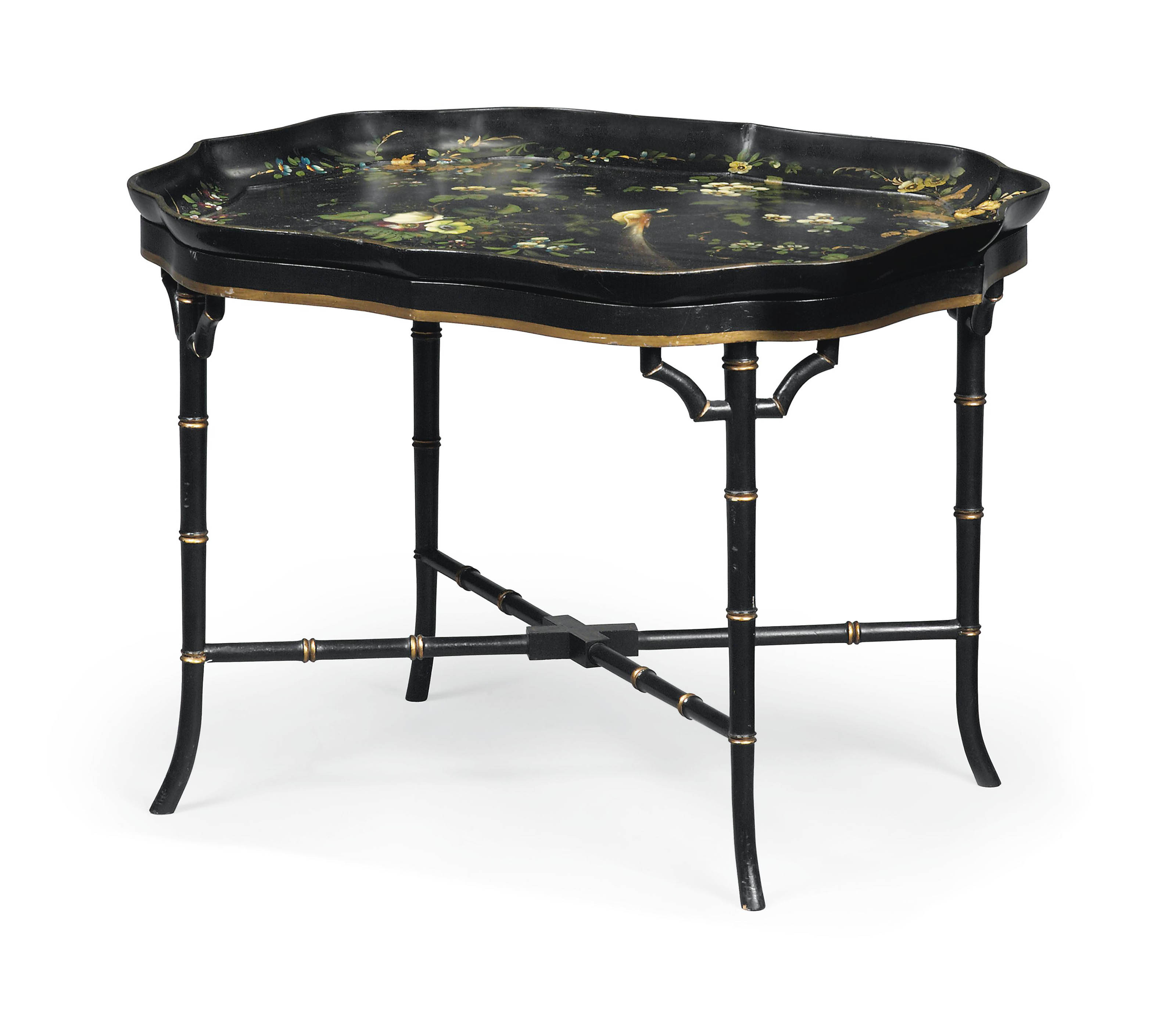 A REGENCY BLACK JAPANNED AND PARCEL-GILT PAPIER-MACHE TRAY ON LATER STAND
