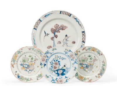 AN ENGLISH DELFT DISH AND THRE