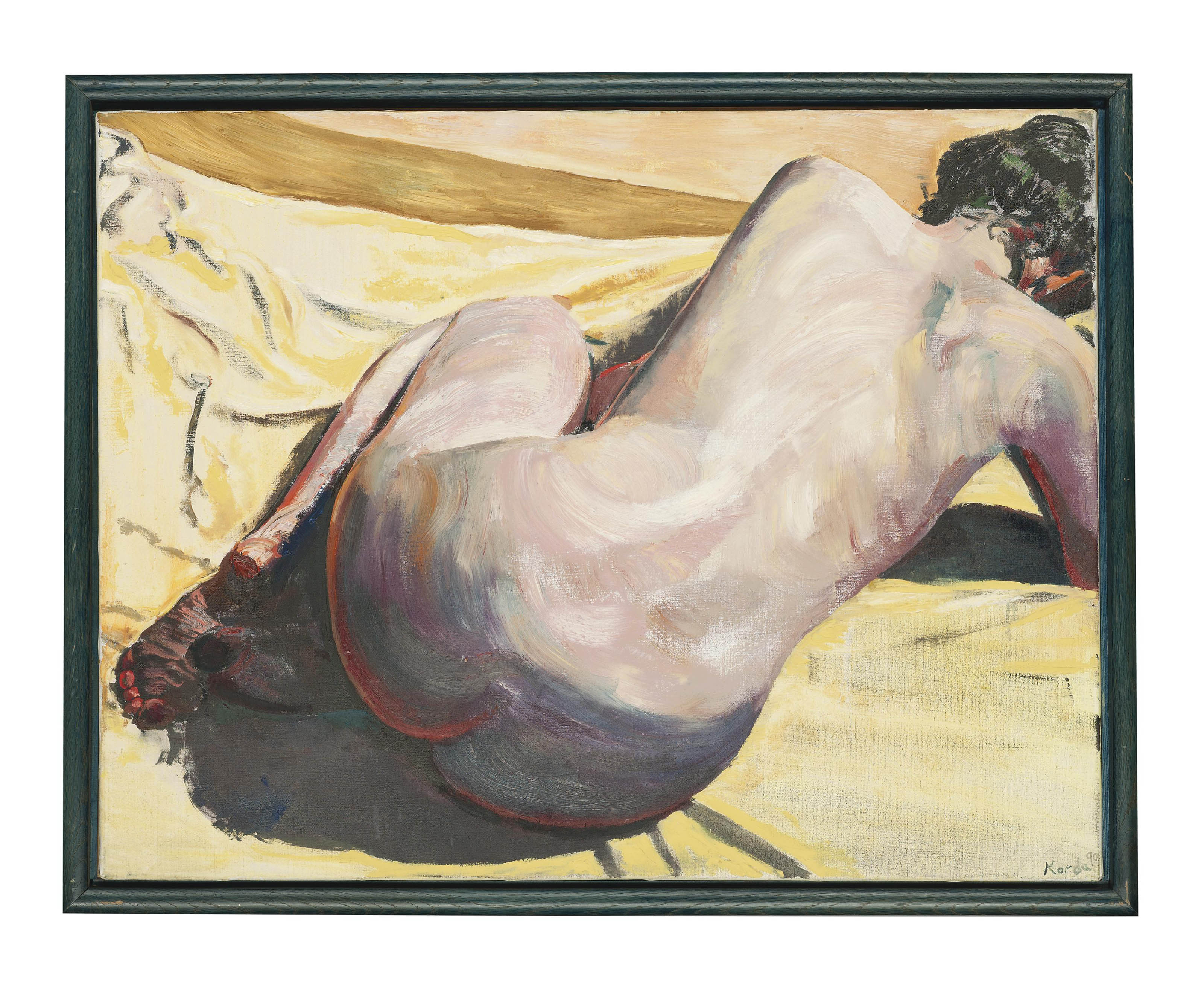 Nude on a yellow sheet