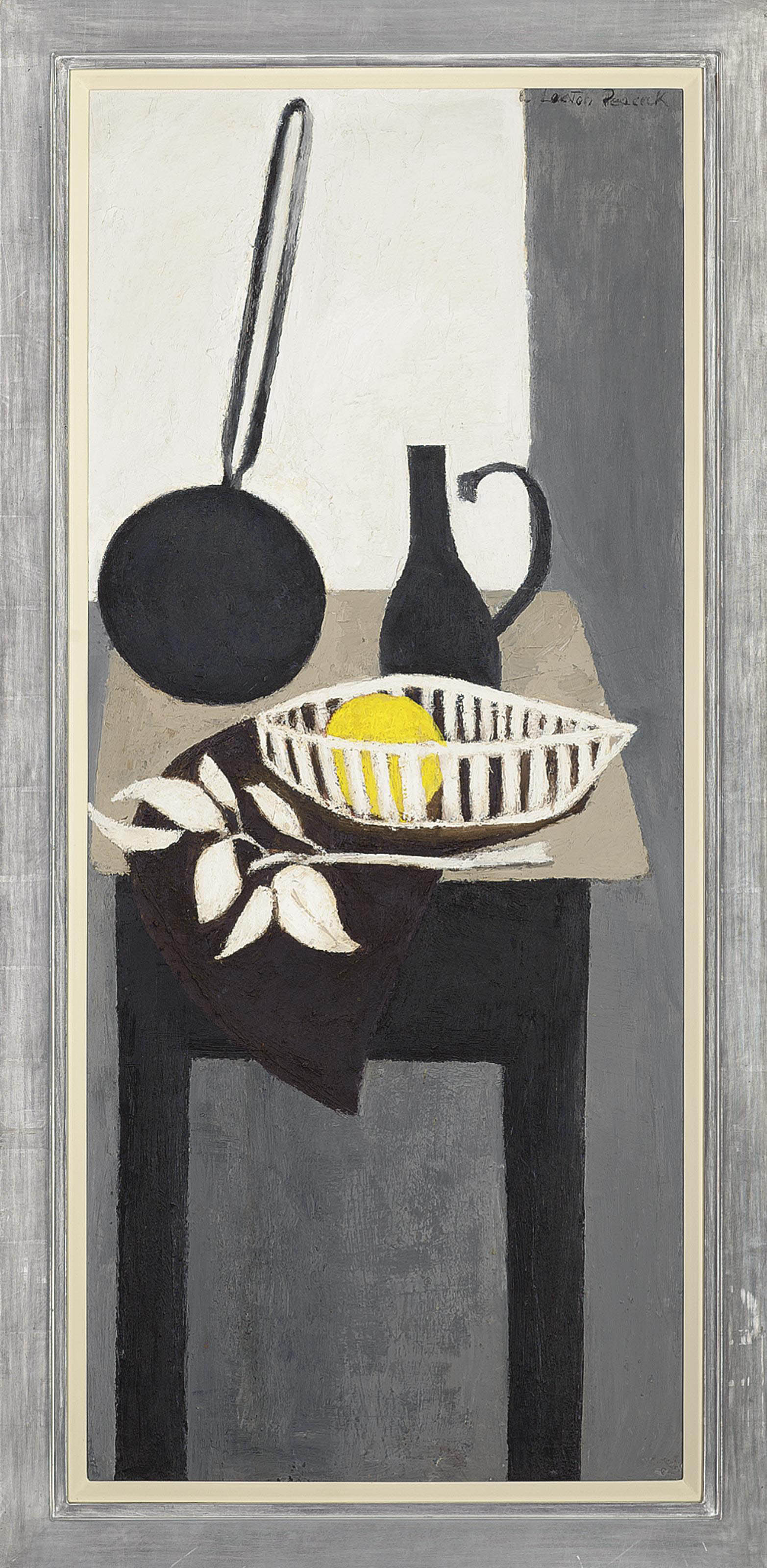 A long-handled frying pan, pitcher and a grapefruit in a basket, on a table