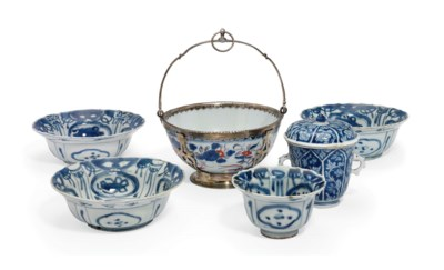 FIVE CHINESE BLUE AND WHITE VE