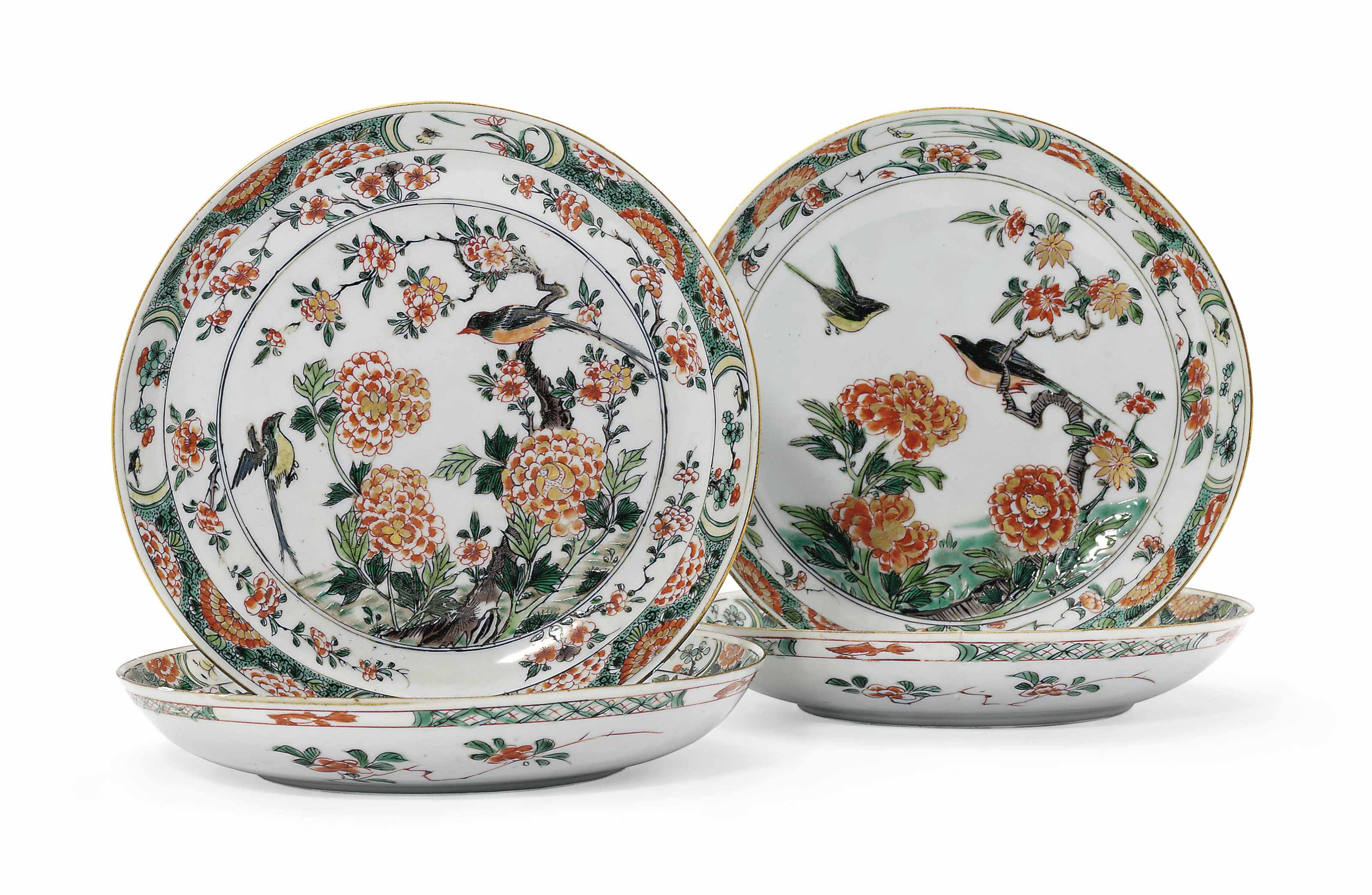 FOUR CHINESE FAMILLE VERTE DISHES