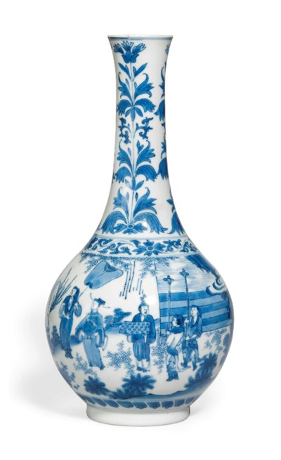 A CHINESE BLUE AND WHITE TALL