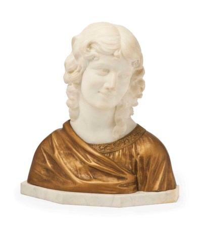 A GILT-BRONZE AND WHITE MARBLE