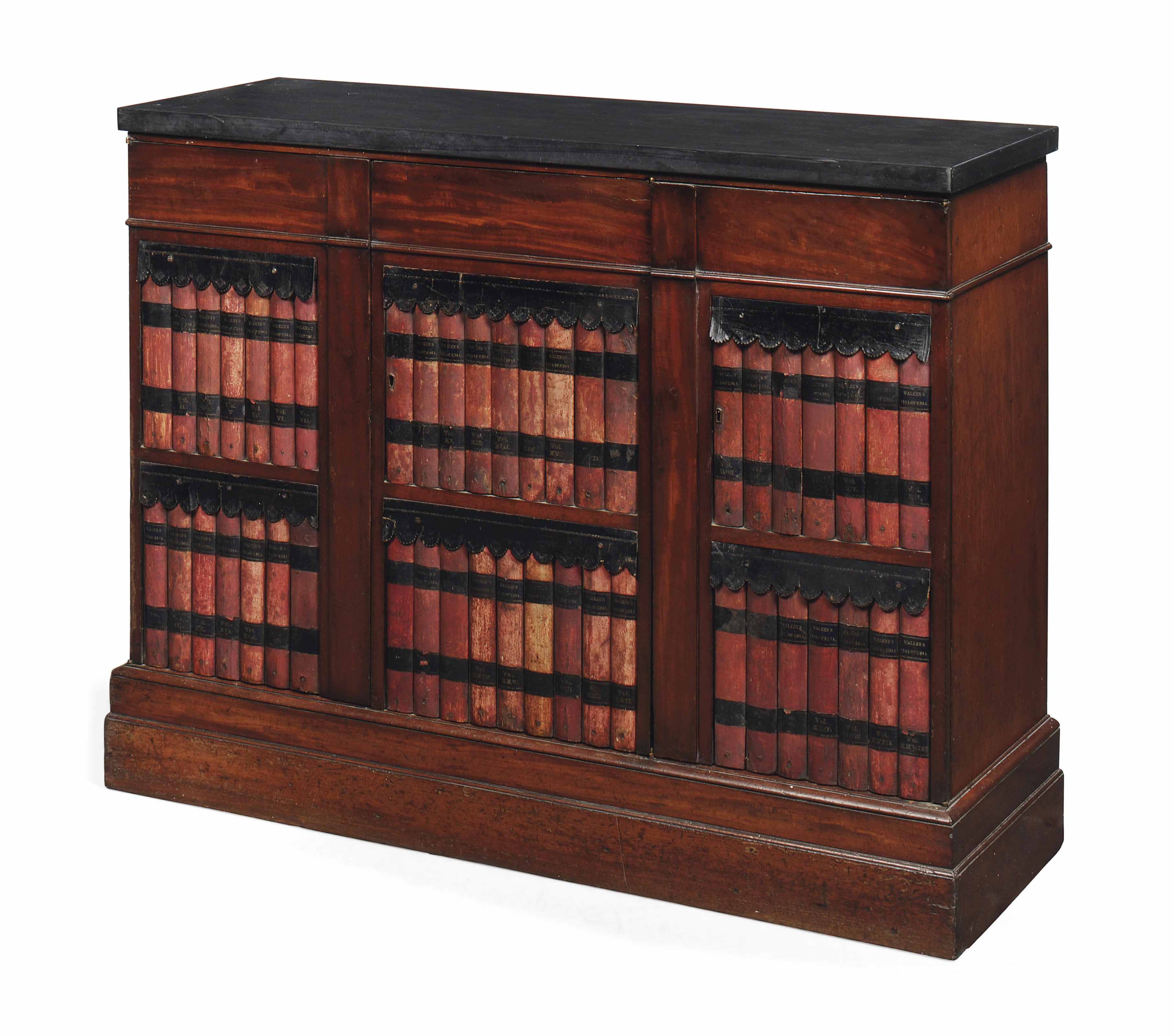 A MAHOGANY AND LEATHER MOUNTED