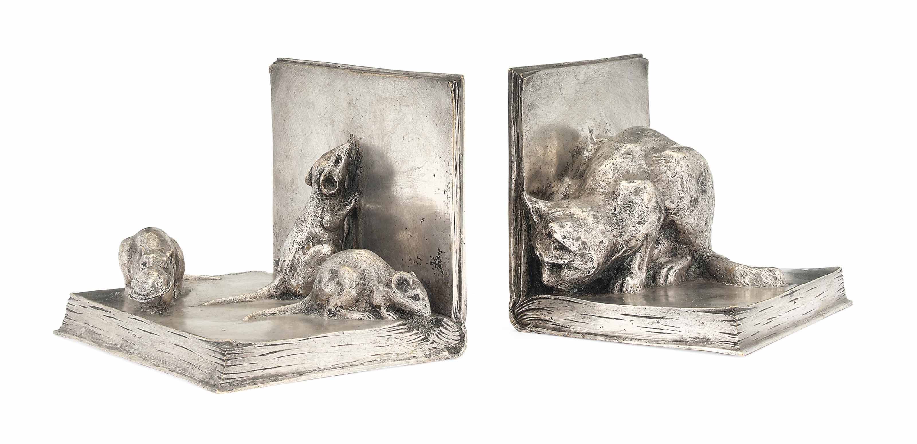 Cat And Mouse A Pair Of Silvered Bronze Bookends By A Duchêne