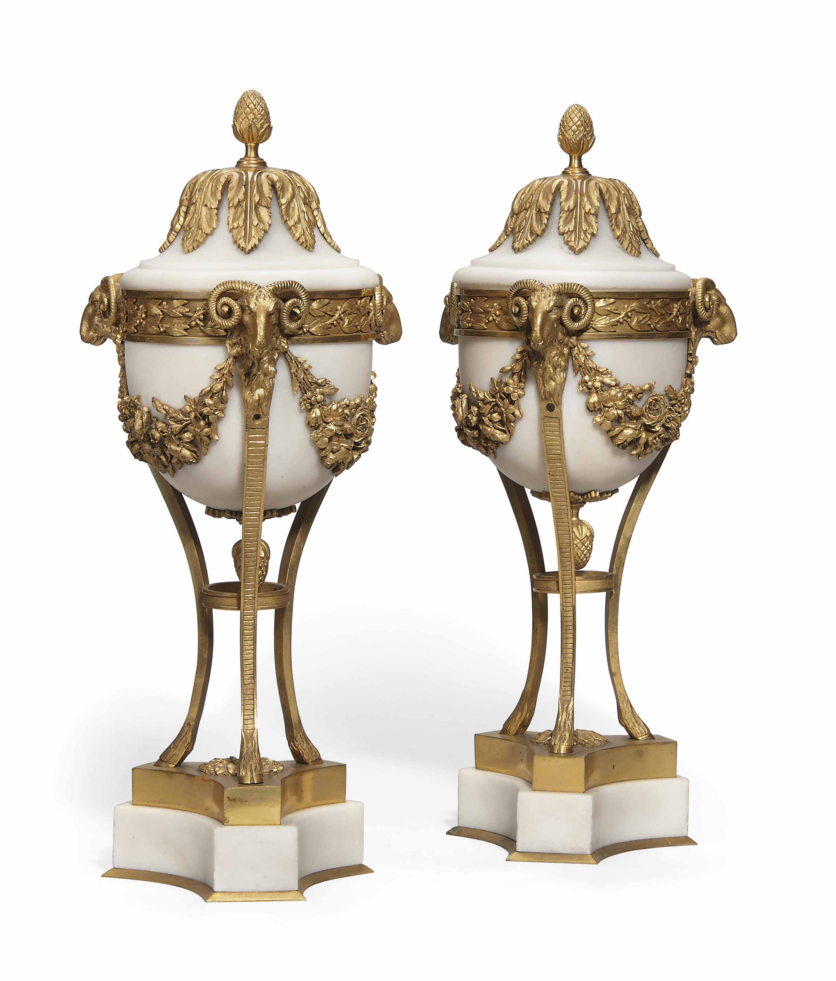 A PAIR OF FRENCH GILT-BRONZE M