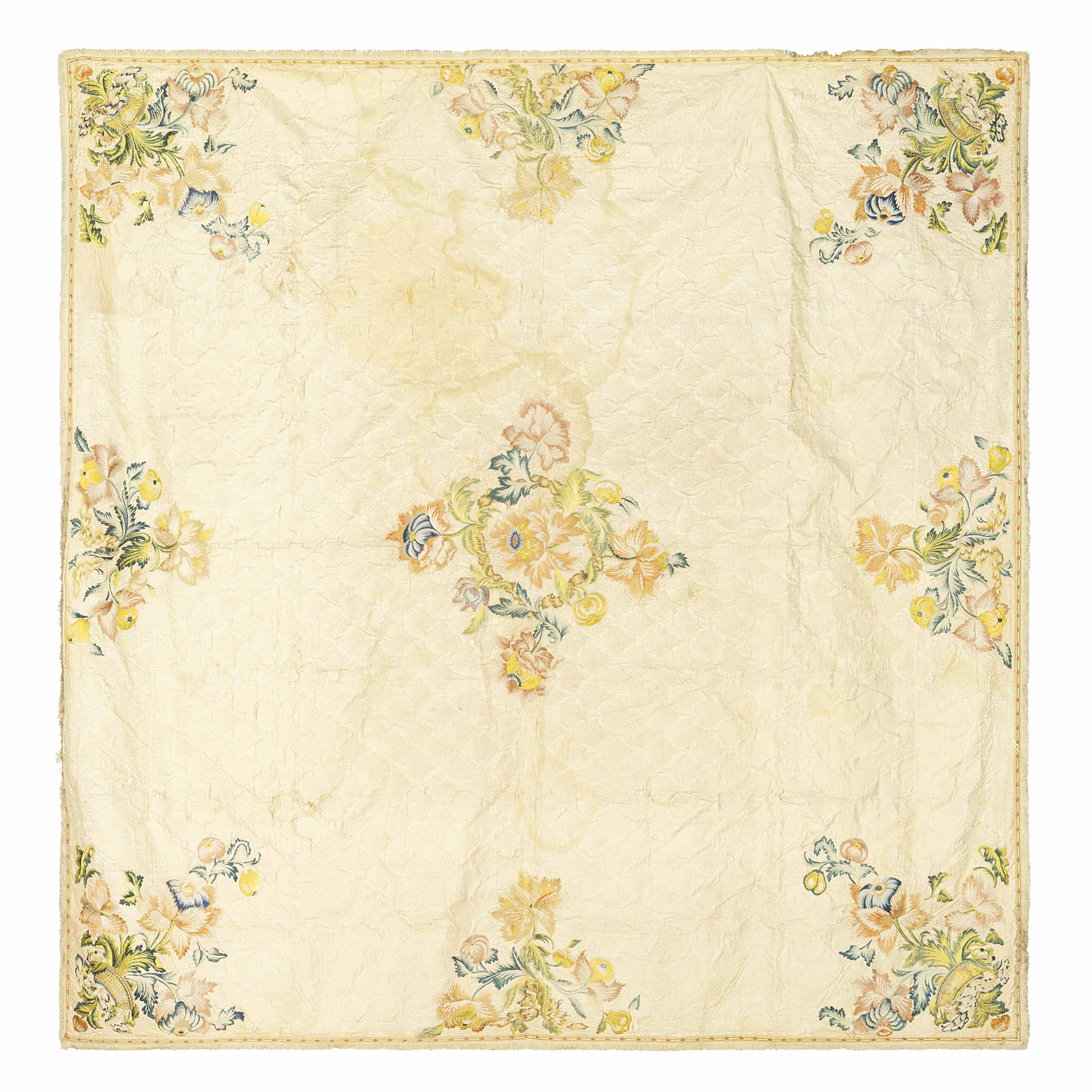 AN EMBROIDERED SILK QUILTED BE