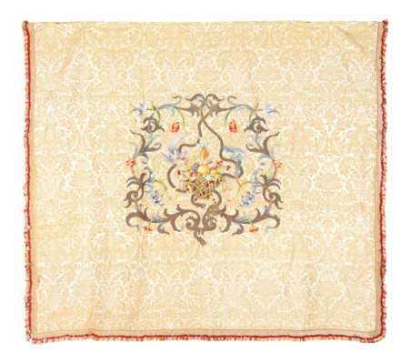 AN EMBROIDERED SILK DAMASK BED