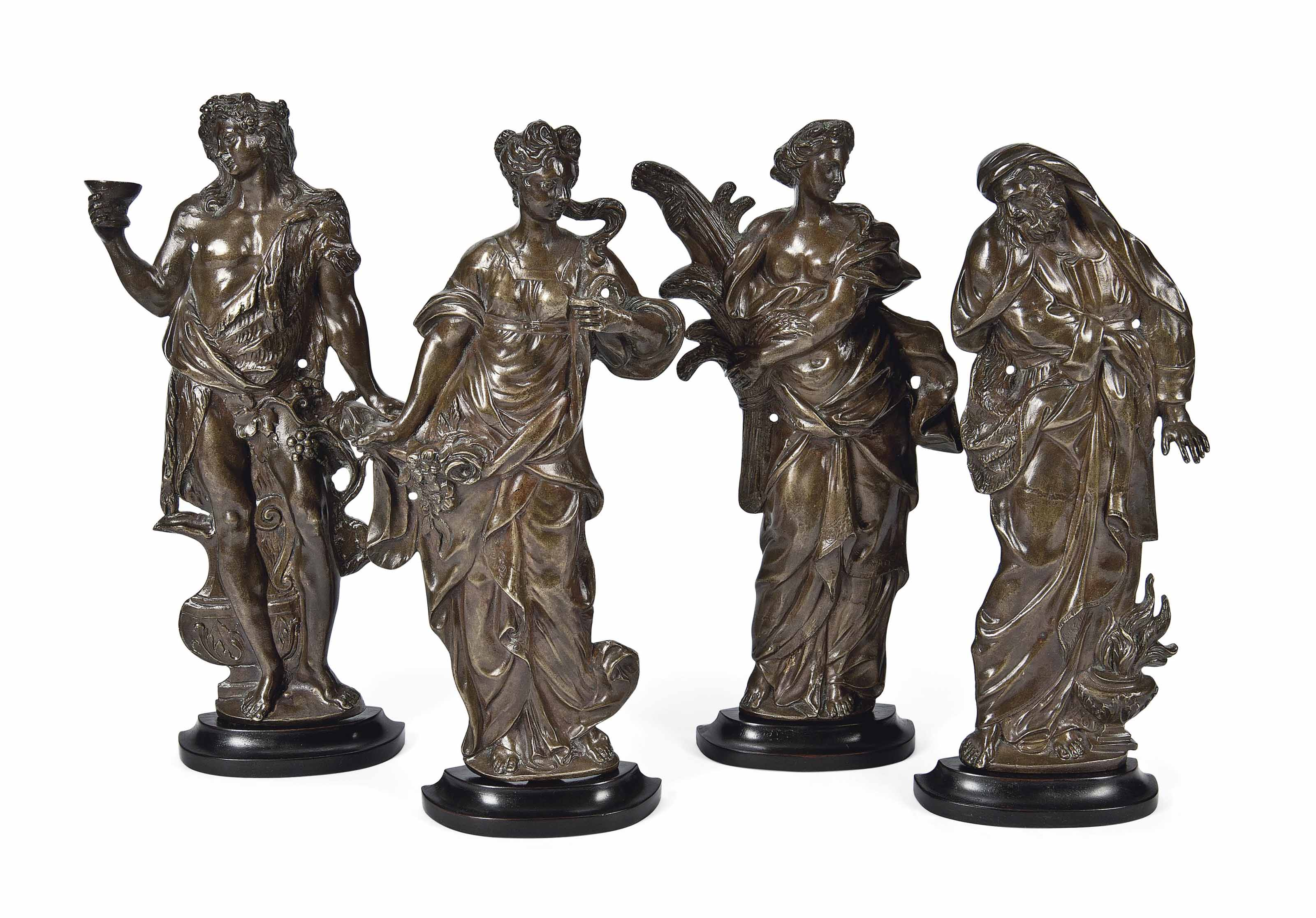 FOUR FRENCH BRONZE RELIEF PLAQ