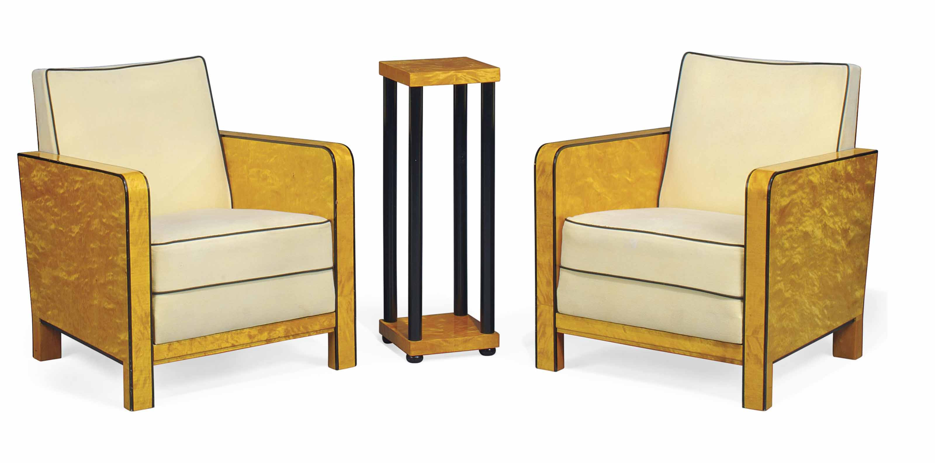 A PAIR OF BIRCH AND PART EBONI