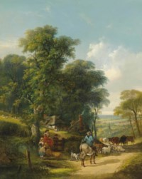 A herdsman with cattle and sheep on a country road, passing cottages