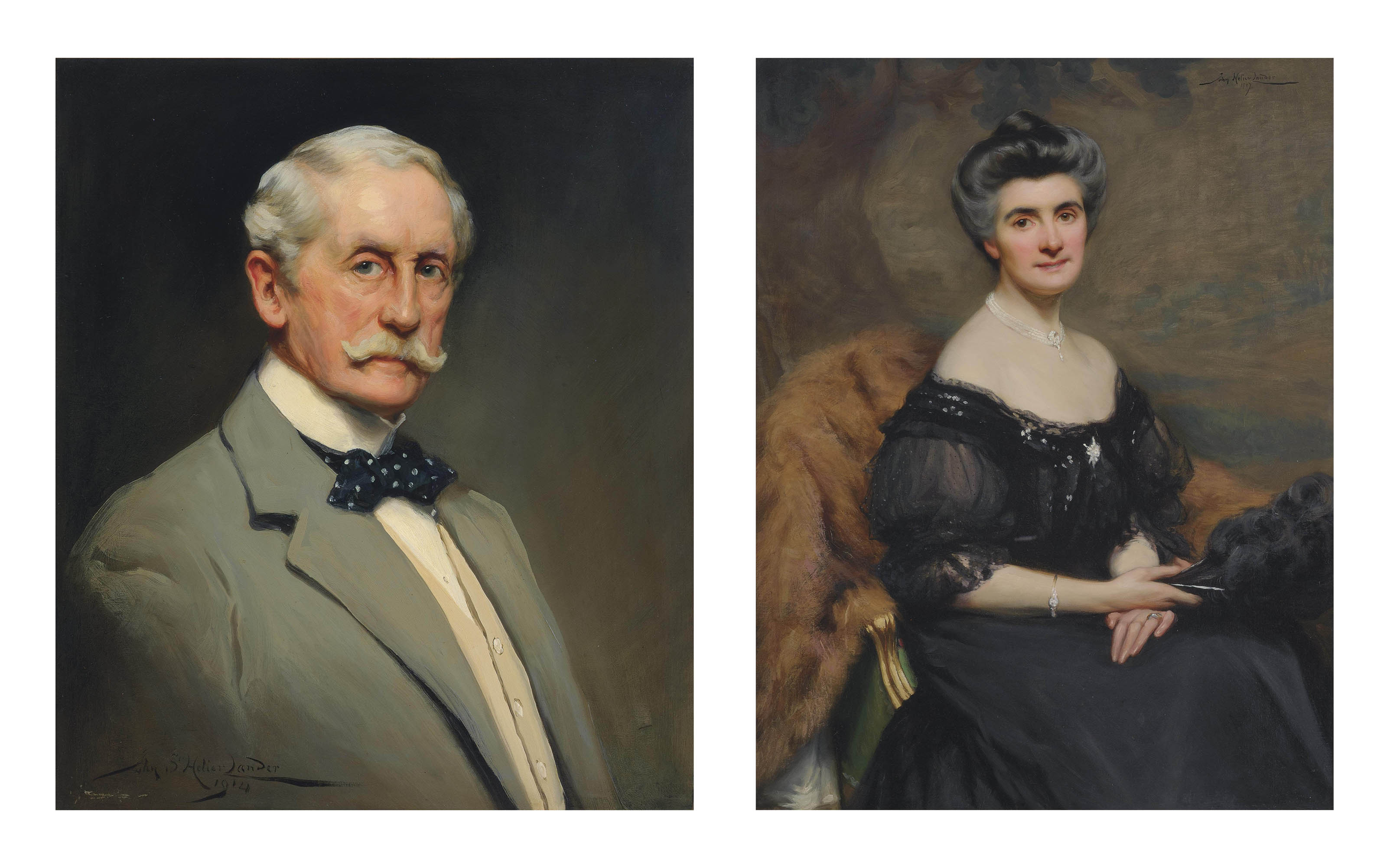 Portrait of Colonel Sir Malcolm Fox (1843-1918), half-length, in a white shirt, cream waistcoat and green jacket, with a navy blue polka dot bow tie; and A portrait of Lady Fox, seated three-quarter-length, in a black chiffon evening dress, holding a black feather fan
