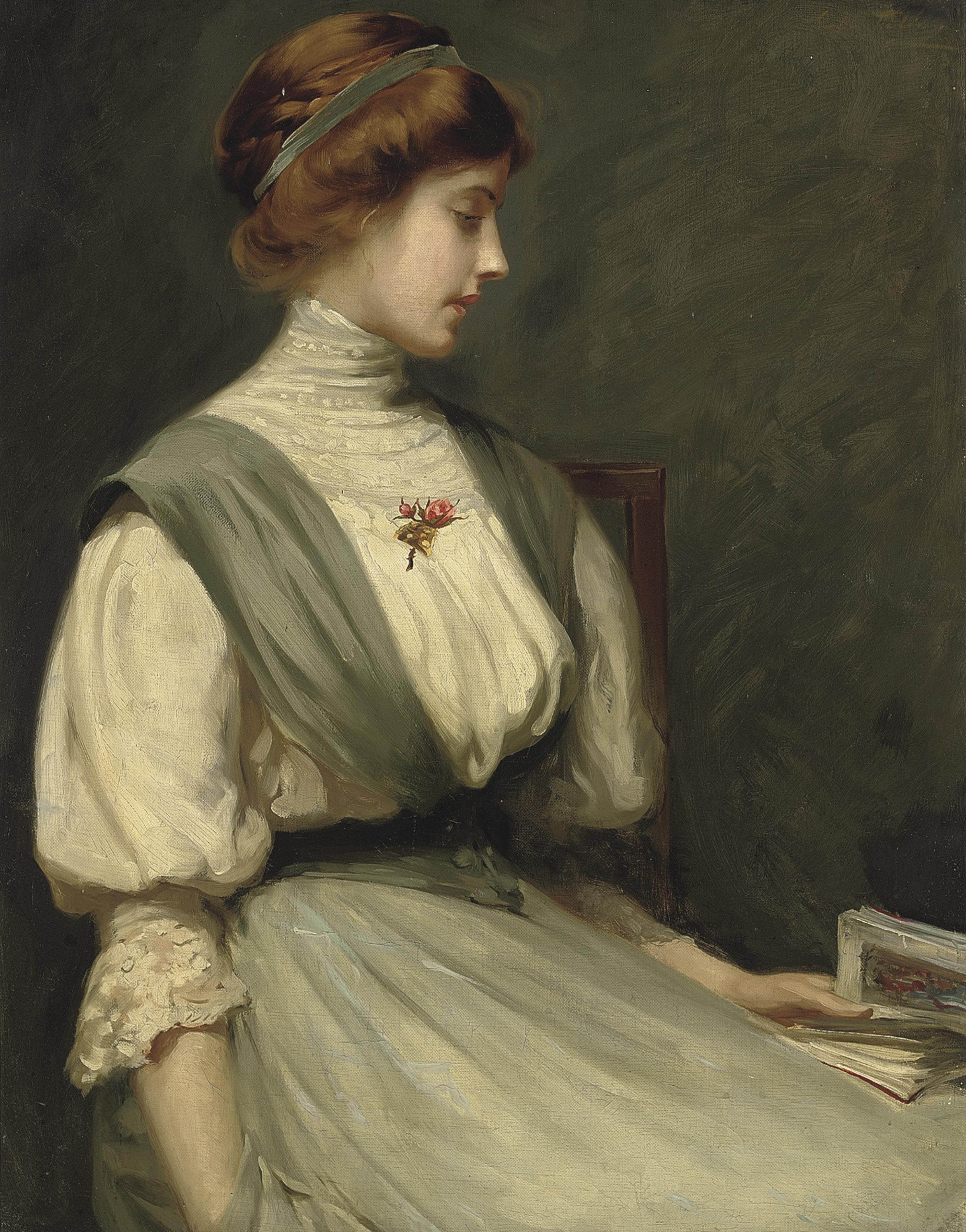 Portrait of Nora Allen, seated half-length, reading a book