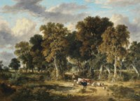 Drover with cattle and sheep