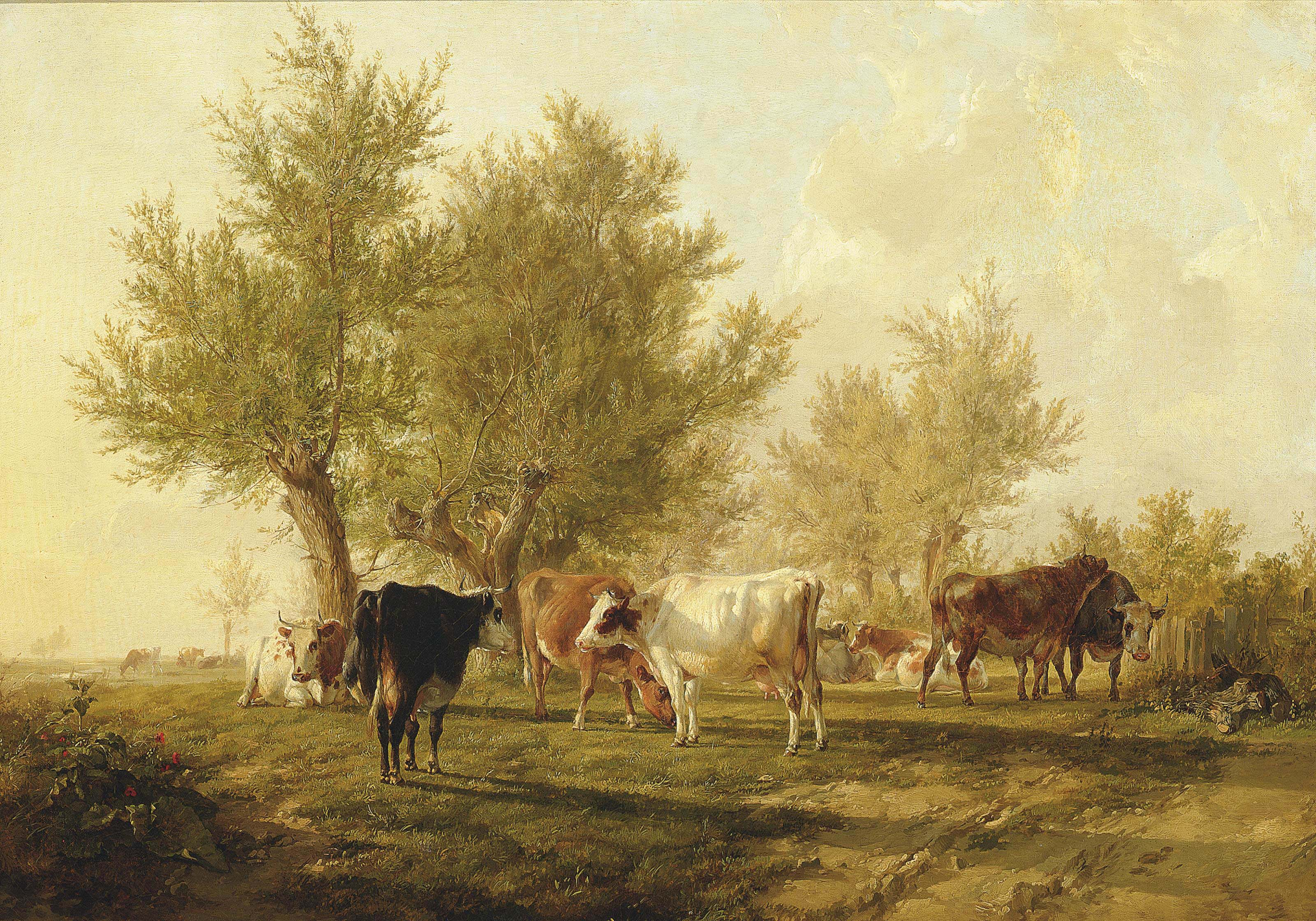 A Summer Evening, cattle under willow trees