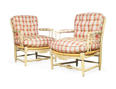 A PAIR OF FRENCH CREAM-PAINTED