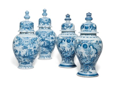TWO PAIRS OF DUTCH DELFT BLUE