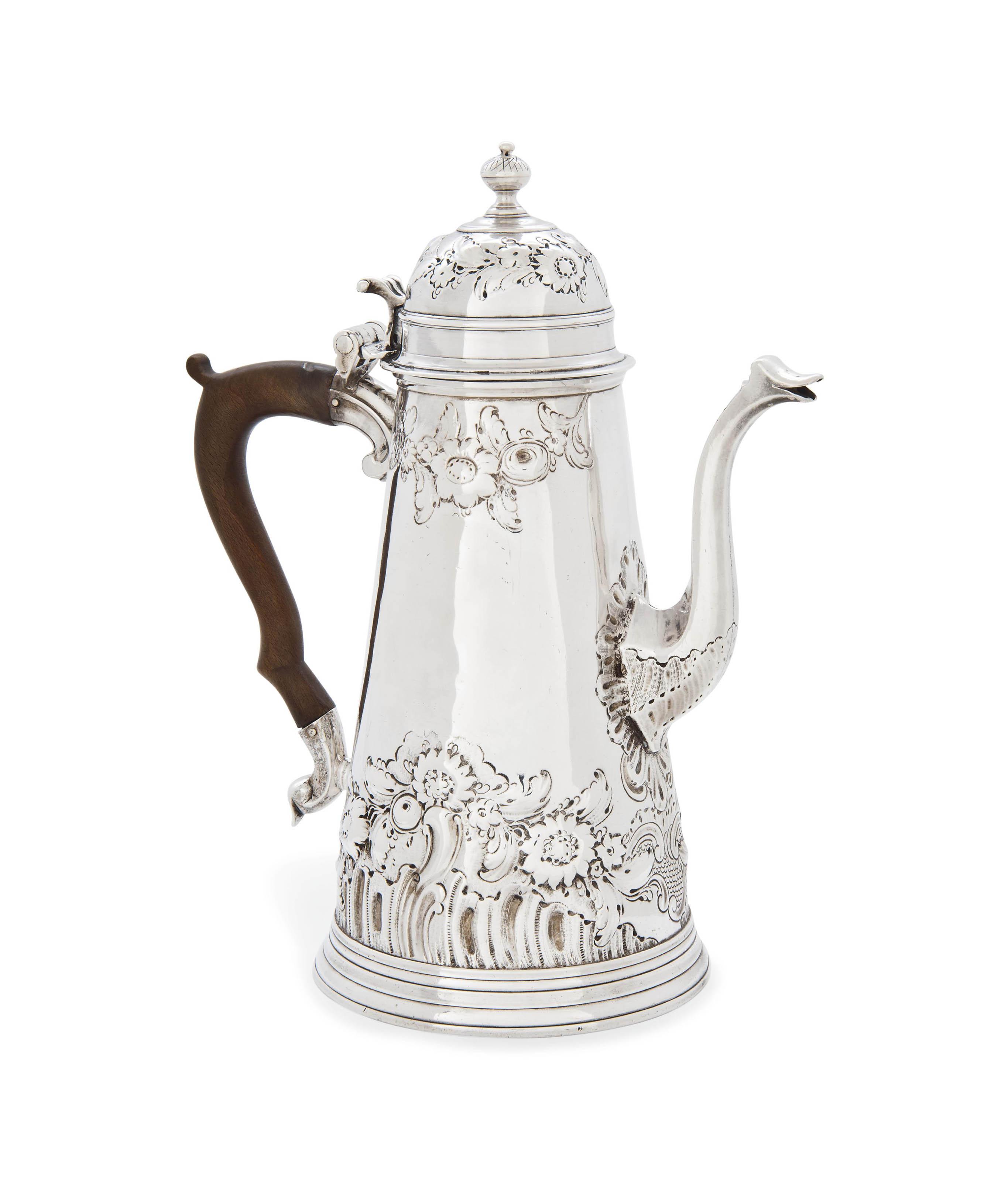 A QUEEN ANNE SILVER COFFEE POT