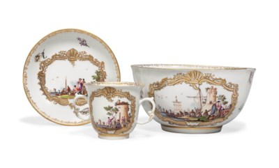A MEISSEN TWO-HANDLED CHOCOLAT