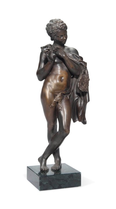 A FRENCH BRONZE FIGURE OF A FA