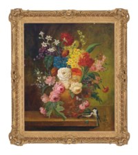 Roses, carnations, narcissi and other flowers in an earthenware vase, on a ledge with birds