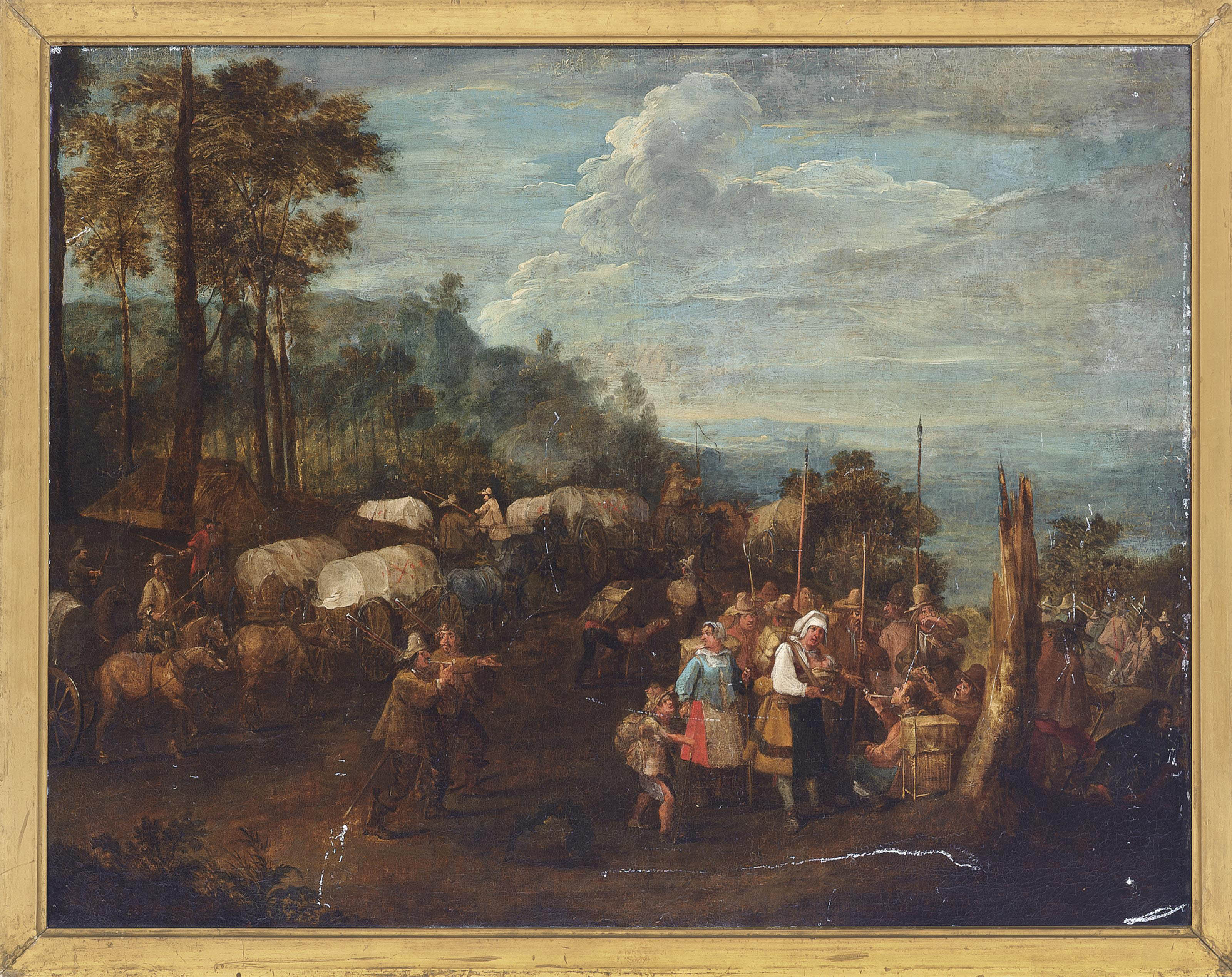 Peasants and soldiers on a wooded track