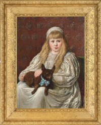 Portrait of a young girl, seated, three-quarter-length, in a lace dress, with a lap dog