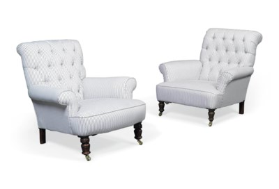 TWO SIMILAR BUTTONED ARMCHAIRS