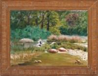 Paysage de la Creuse et Fougre; Washerwomen on the riverbank