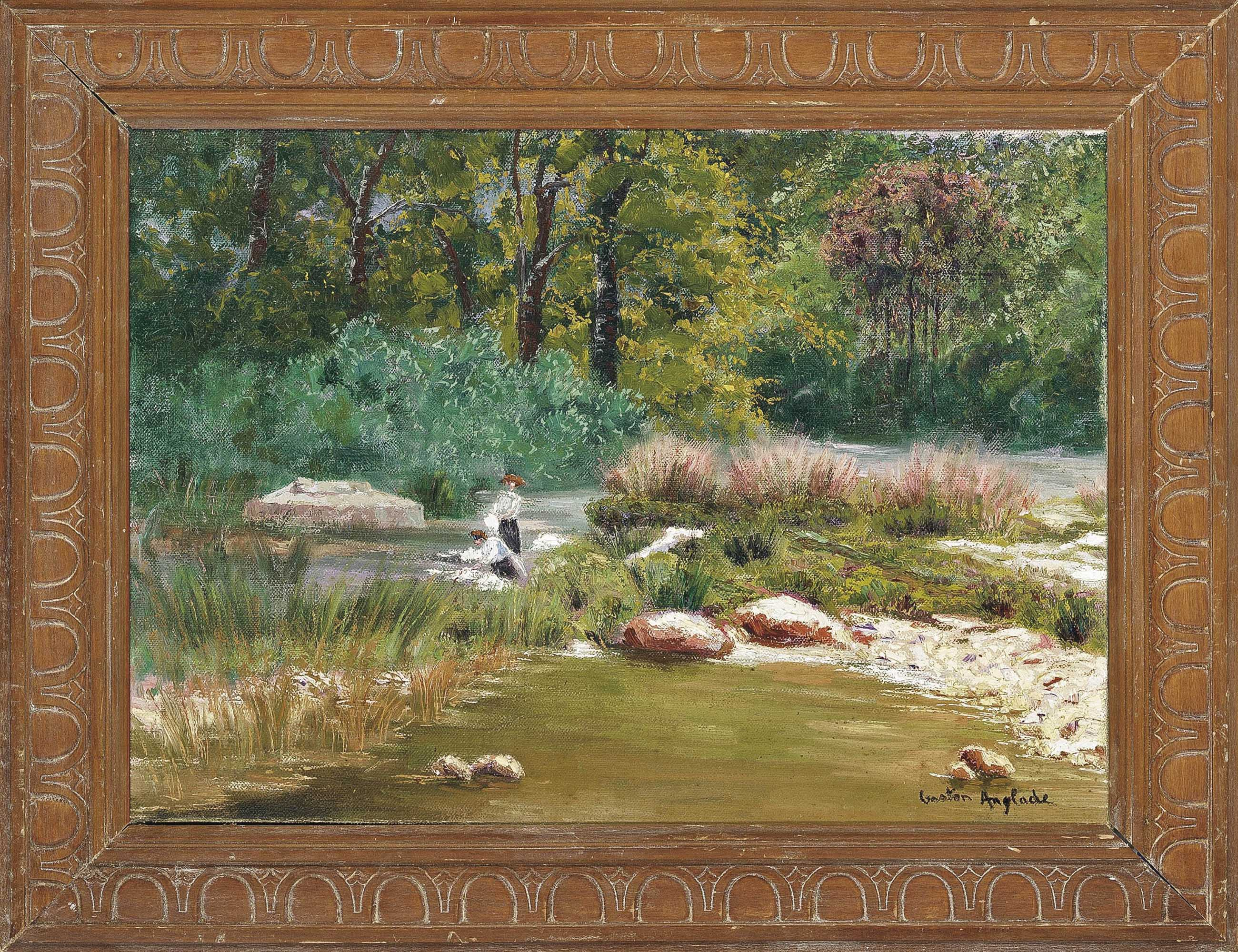 Paysage de la Creuse et Fougre; Washerwomen on the riverbank