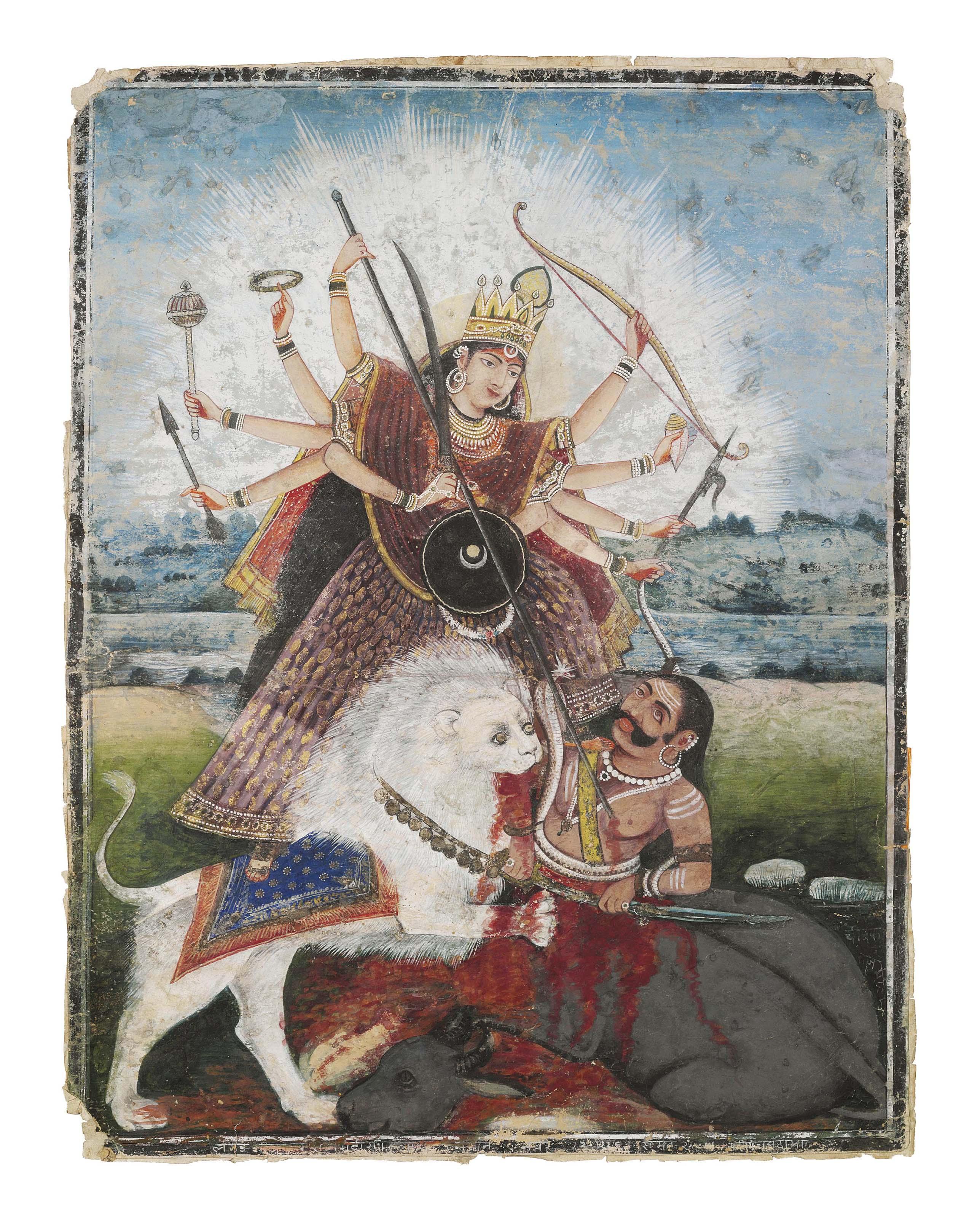 A Large Painting Of The Goddess Durga Bengal Circa 1870