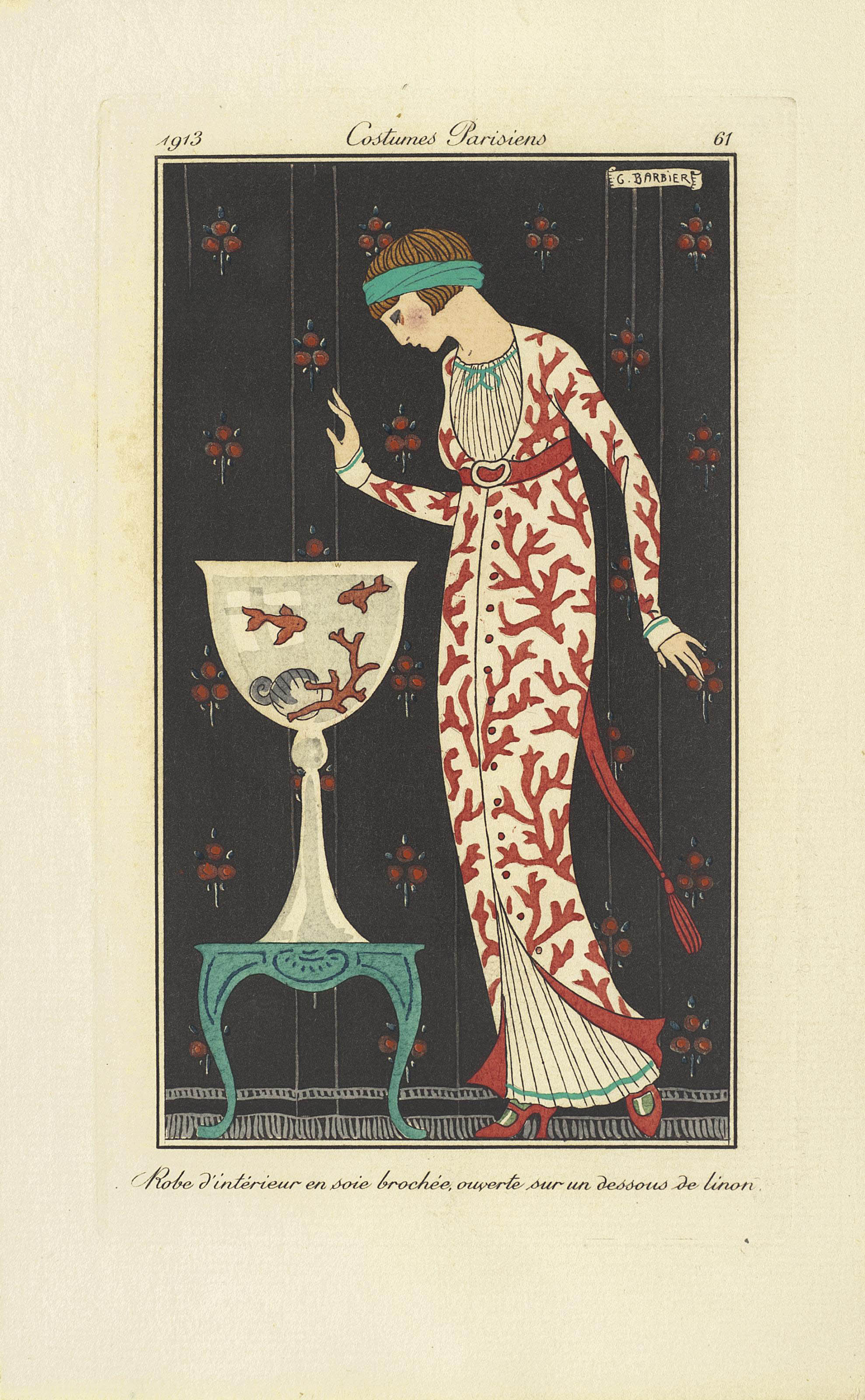 BARBIER, Georges (1882-1932). Journal des Dames et des Modes. Paris: Aux Bureaux du Journal des Dames, 1913-14. Vols II- IV in 3 volumes, 8° (225 x 140mm). Half titles, 184 (of 185) fine hand- or pochoir-coloured plates by Georges Barbier and others, 60pp. of advertisements. (Lacking plate 74, but with an additional unnumbered plate.) Unbound in a contemporary half red morocco box (worn).