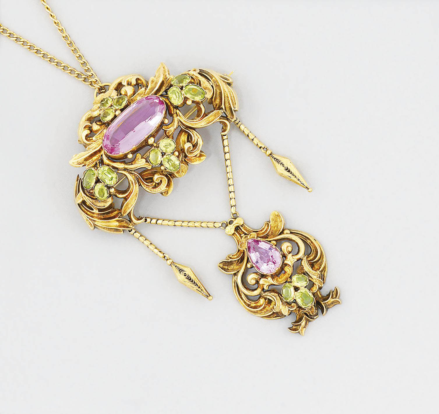 A 19th century gold, topaz and