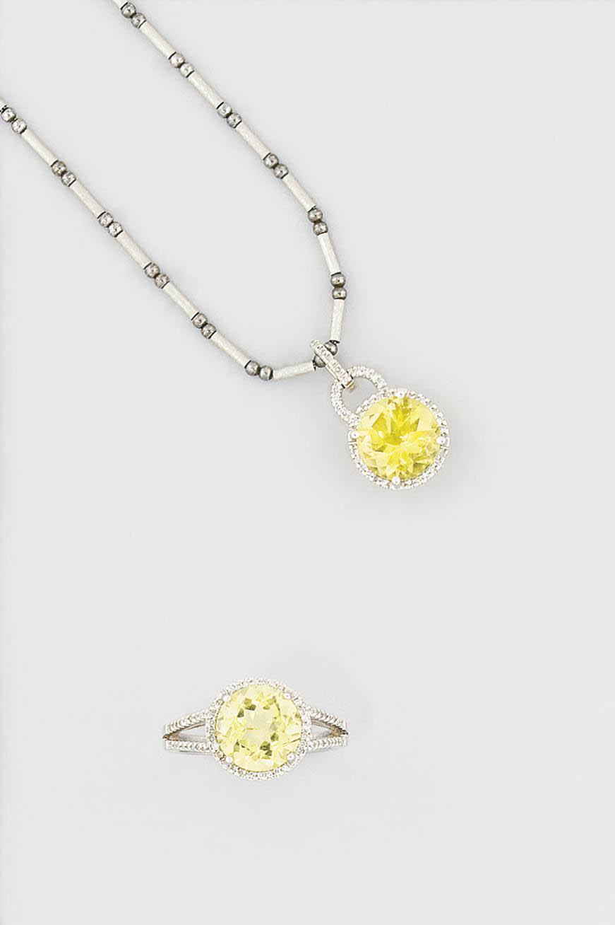 A citrine and diamond pendant