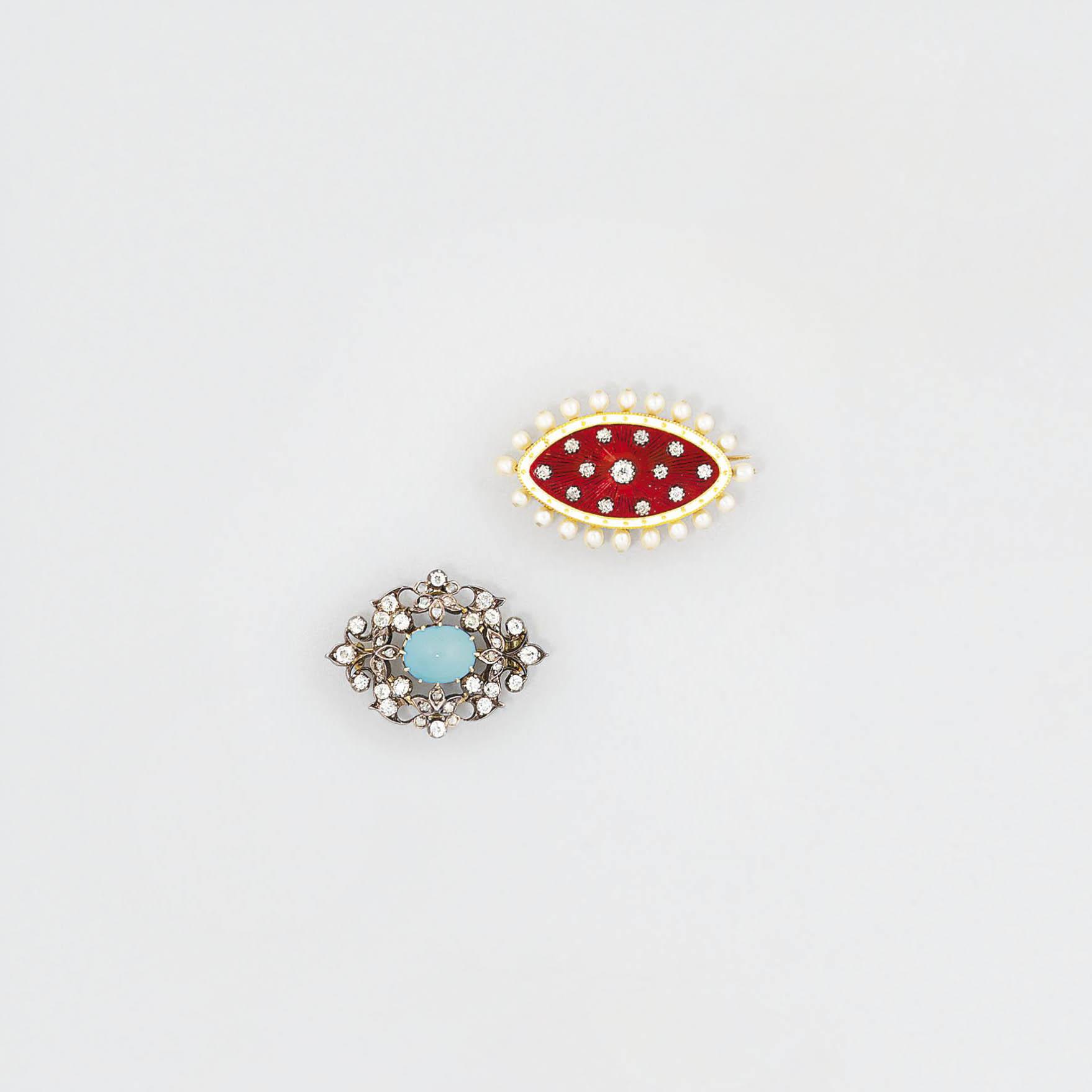 An Edwardian diamond, pearl an