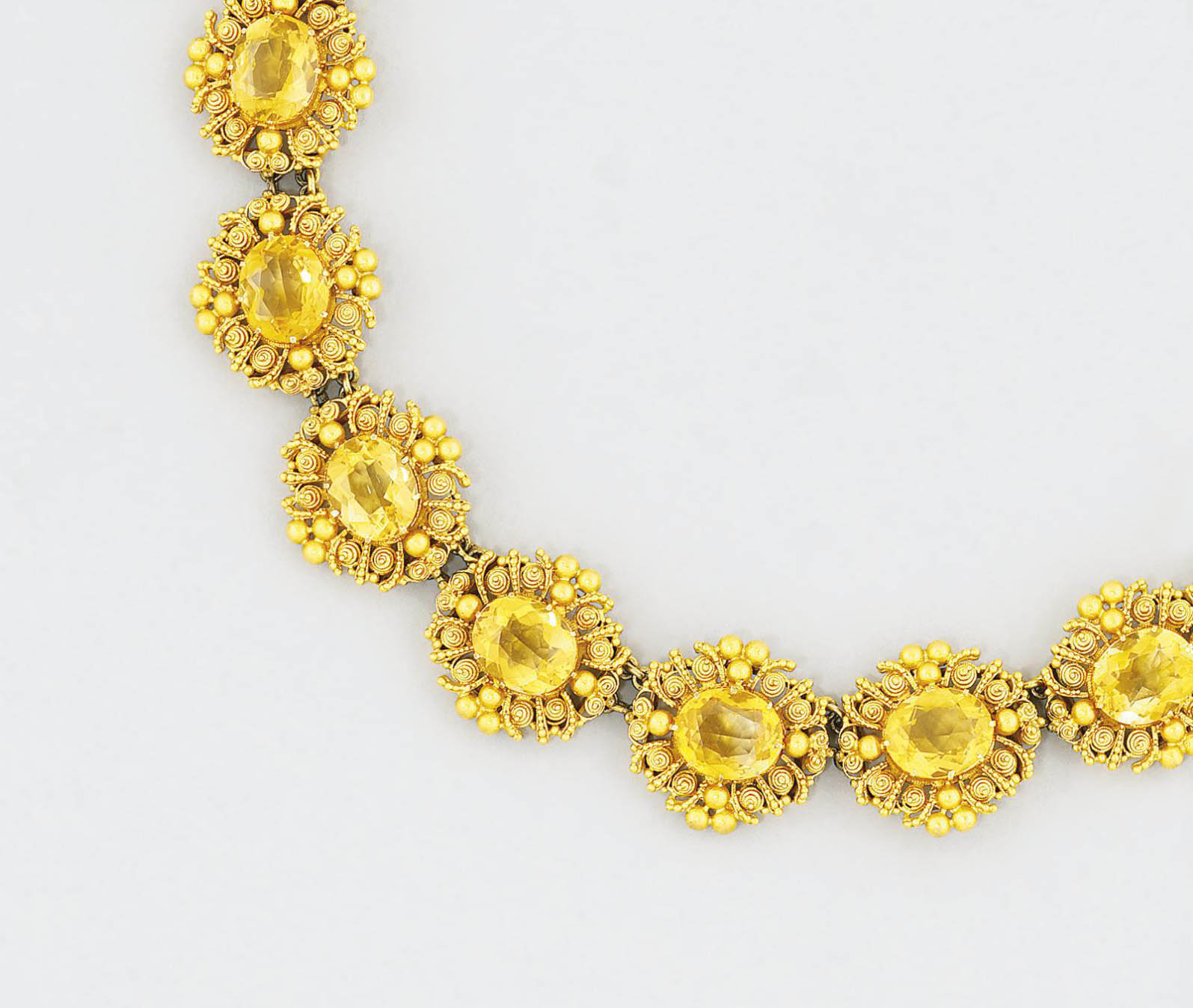 A citrine and gold necklace
