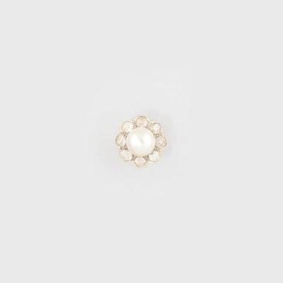 A mabé cultured pearl and diam