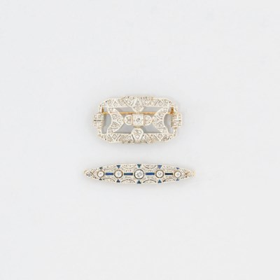 Two art deco diamond and gem-s
