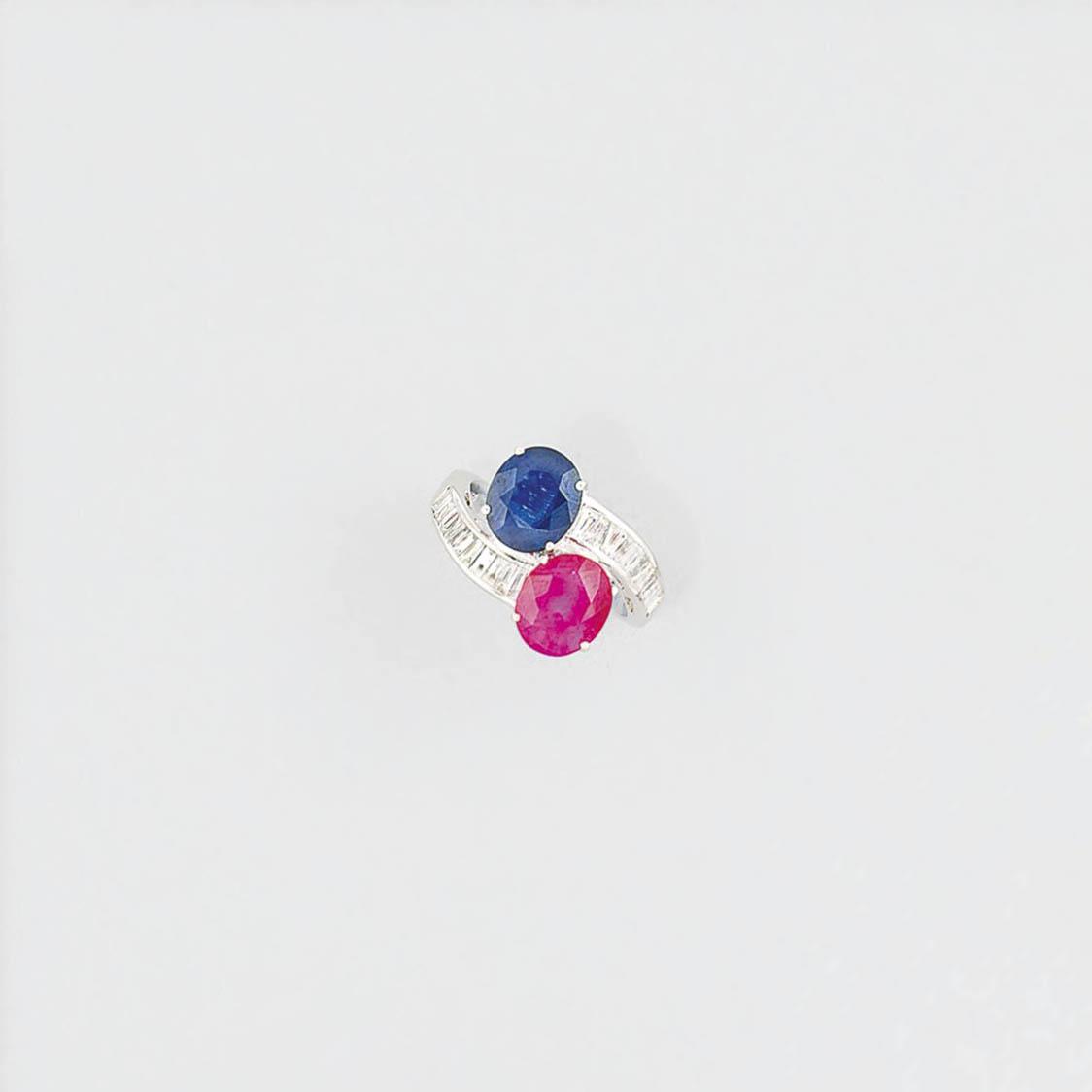 A ruby, sapphire and diamond r