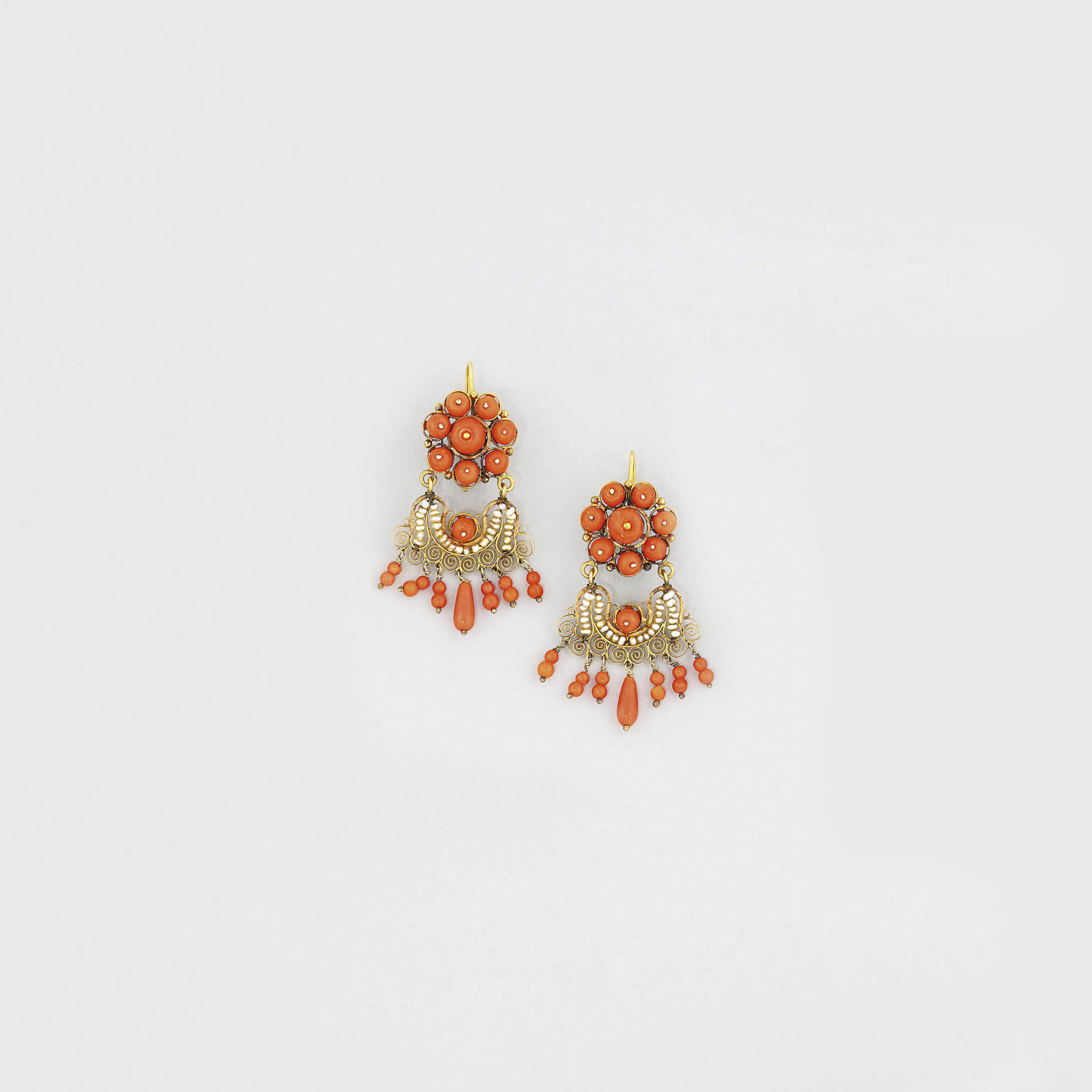 A pair of coral and seed pearl