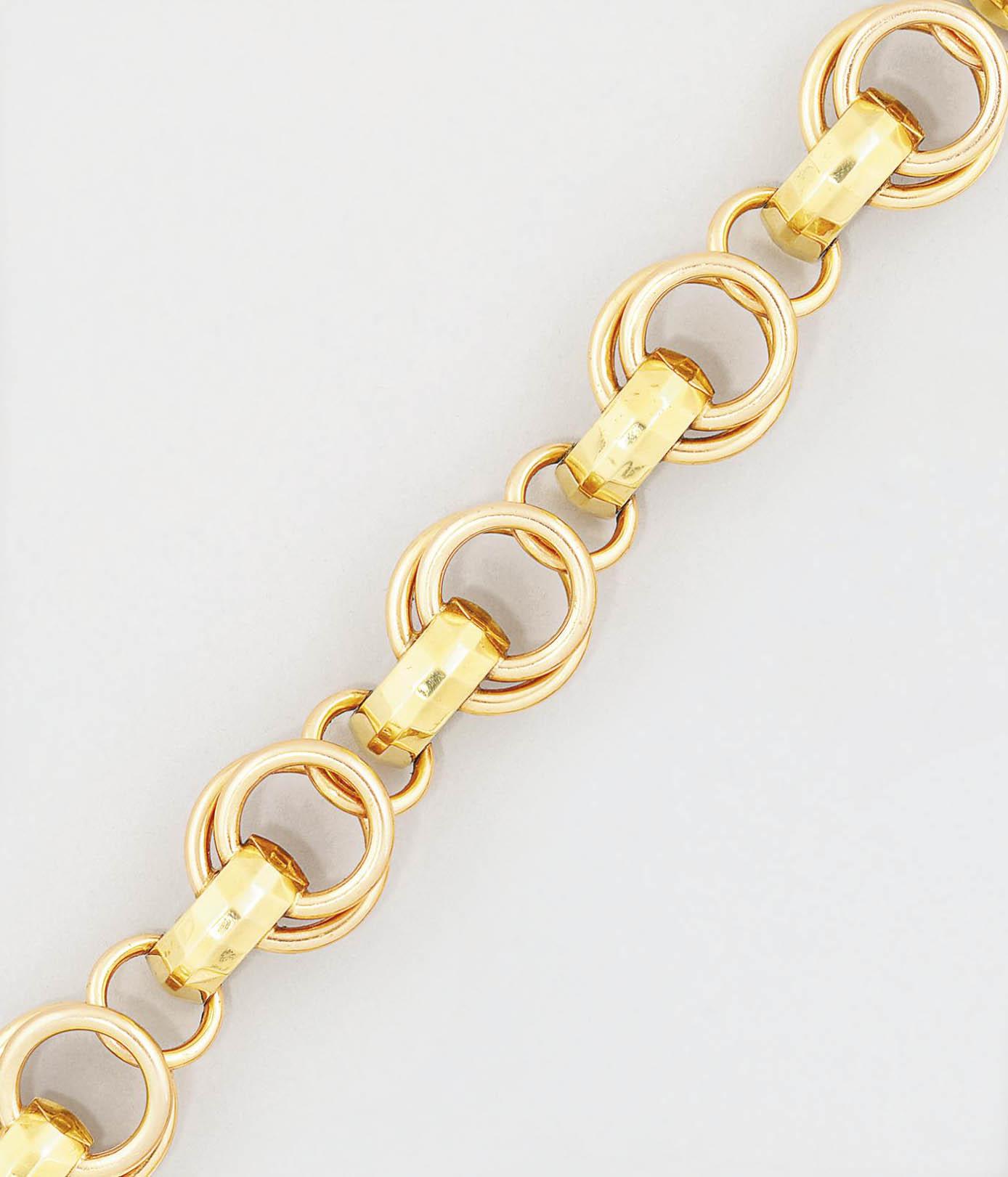 A 1940s two colour gold bracel