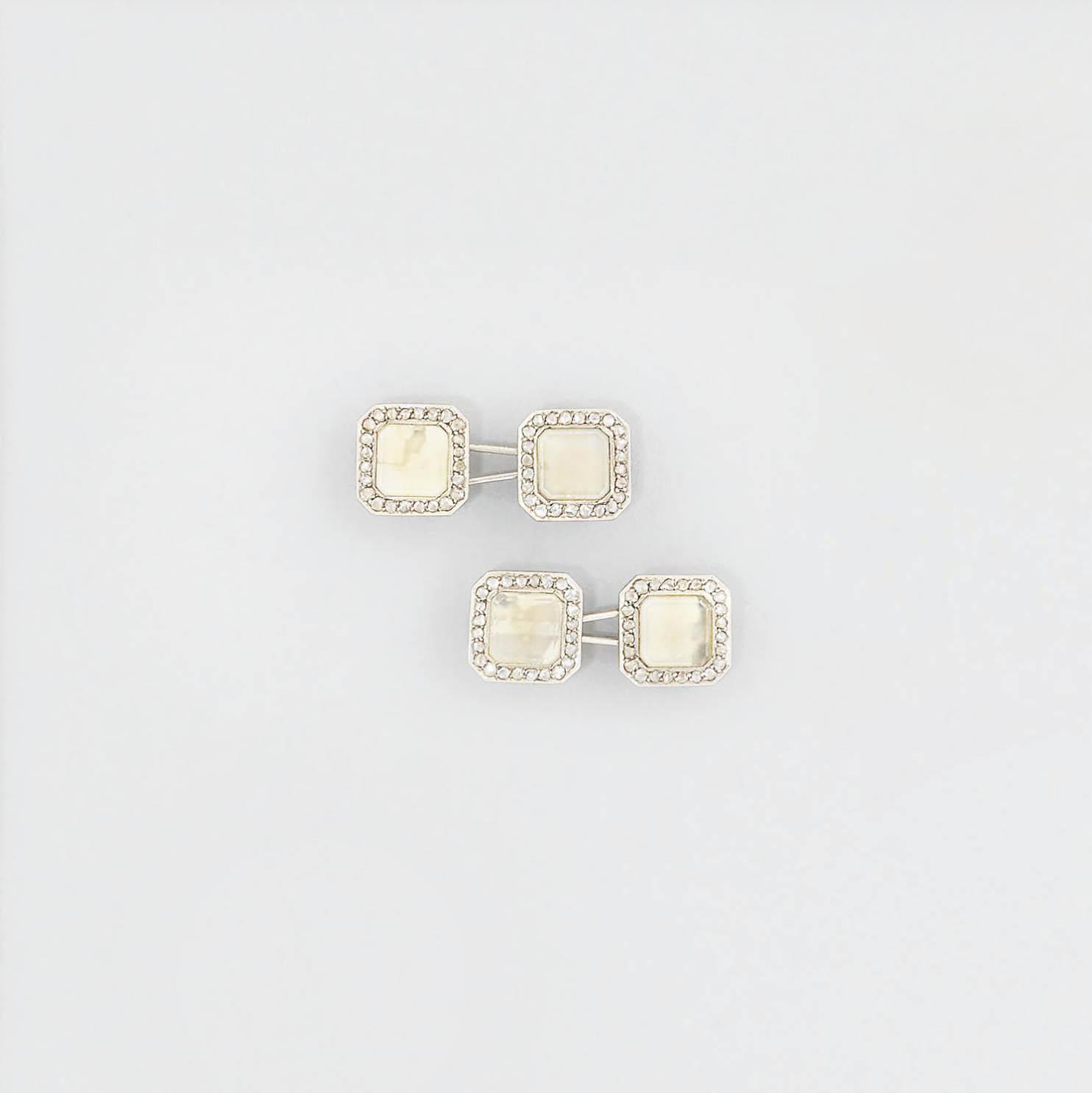 A pair of Art Deco diamond-set