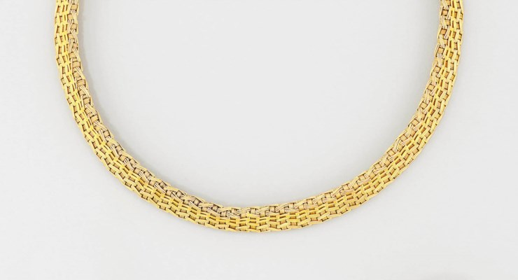 A fancy-link collar necklace