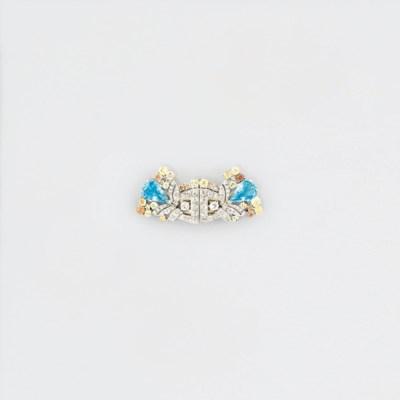 An aquamarine, diamond and col