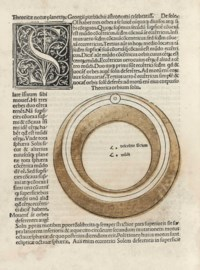JOHANNES DE SACROBOSCO (1190-ca.1250). Sphaera mundi [with other tracts]. Venice: [Bonetus Locatellus] for Octavianus Scotus, 4 Oct, 1490. Chancery 4° (220 x 160mm). Roman type. Full-page woodcut on verso of title showing Astronomia enthroned by Urania and Ptolemy, large woodcut of the 'Sphaera mundi' on a3v, woodcut initials, diagrams and illustrations, 7 diagrams of planetary orbits coloured in stencil. (Marginal worming to first 8 leaves, tiny burn-hole on full-page woodcut, some soiling, mainly marginal, light waterstaining.) Later vellum, label on spine (some staining, a tiny hole). Provenance: Collalti Bibliothek (bookplate dated 1771) -- F. Fraternali (book dealer's stamp).