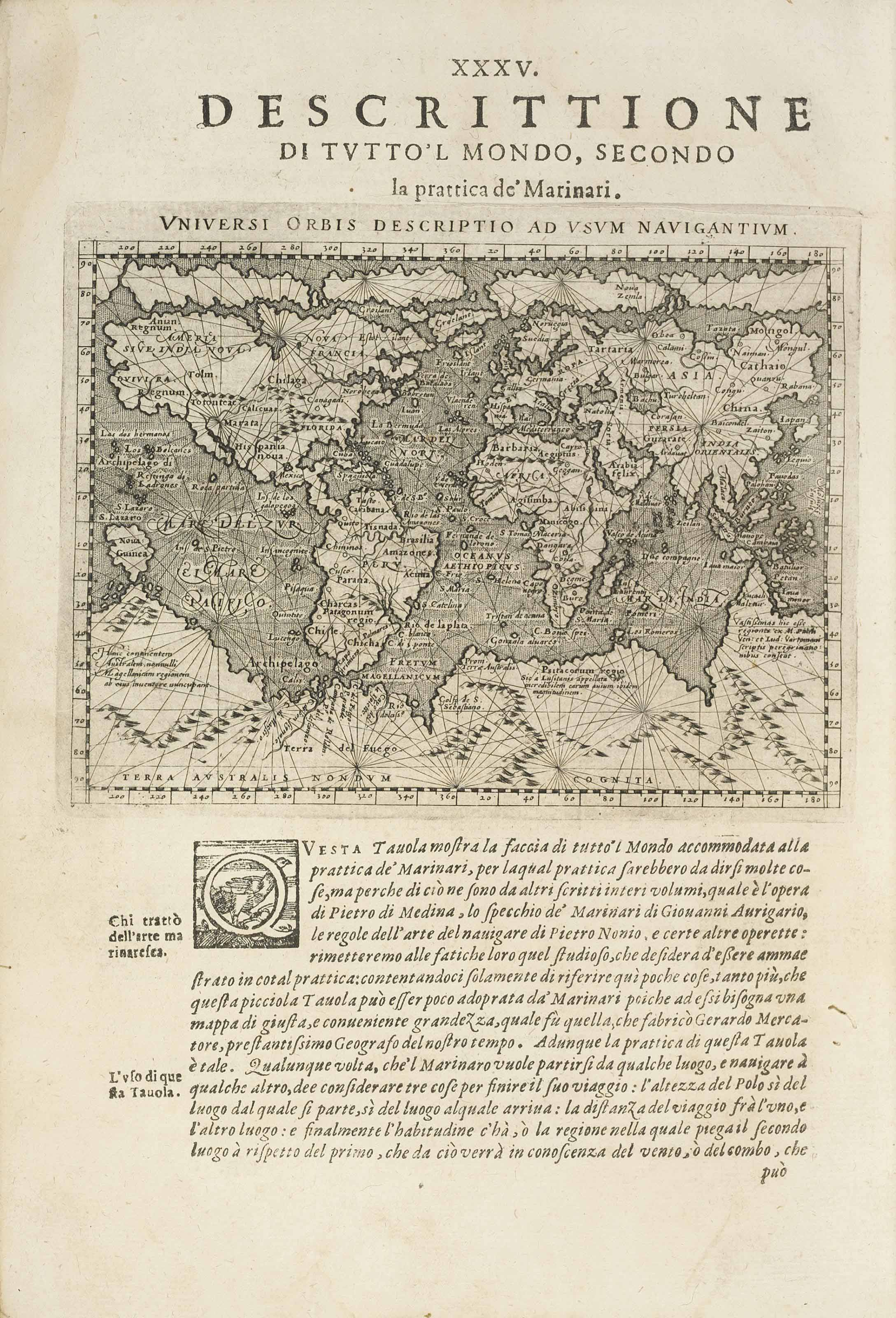 PTOLEMAEUS, Claudius (c.100-c.170). Geografia cioé descrittione universale della terra. Padua: Paolo and Francesco Galignani, 1621-1620. 2 parts in one volume, 2° (296 x 210mm). Engraved devices on titles, 63 half-page maps and woodcuts. (Lacking full-page engraved map, occasional browning and waterstaining, a few clean tears sometimes affecting text.) Modern vellum, manuscript title on spine (lightly bowed, some stains).