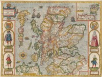 SPEED, John (1552-1629). The Kingdome of Scotland, London: John Subury and George Humbell, 1611 [or later]. Double-page engraved map, coloured in a contemporary hand (repaired hole causing very slight loss, verso of fold reinforced with cloth tape), 407 x 518mm.